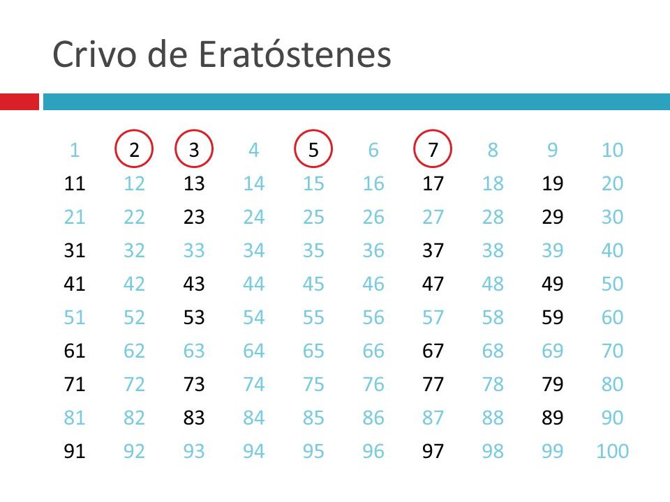 Crivo de Eratóstenes 1. 2. 3. 4. 5. 6. 7. 8. 9. 10. 11. 12. 13. 14. 15. 16. 17. 18.