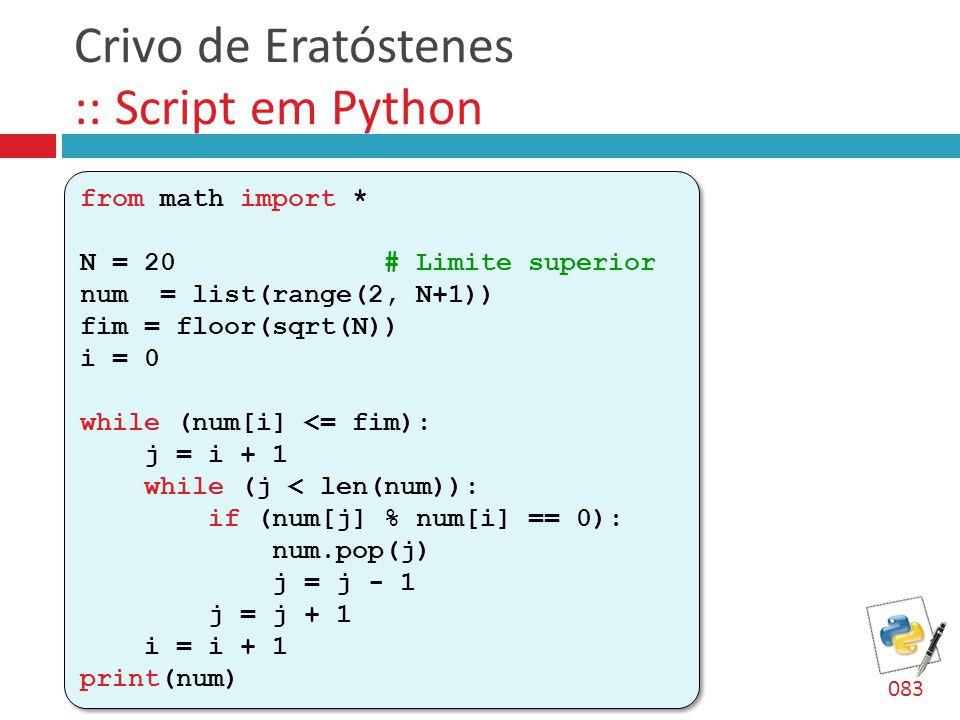Crivo de Eratóstenes :: Script em Python