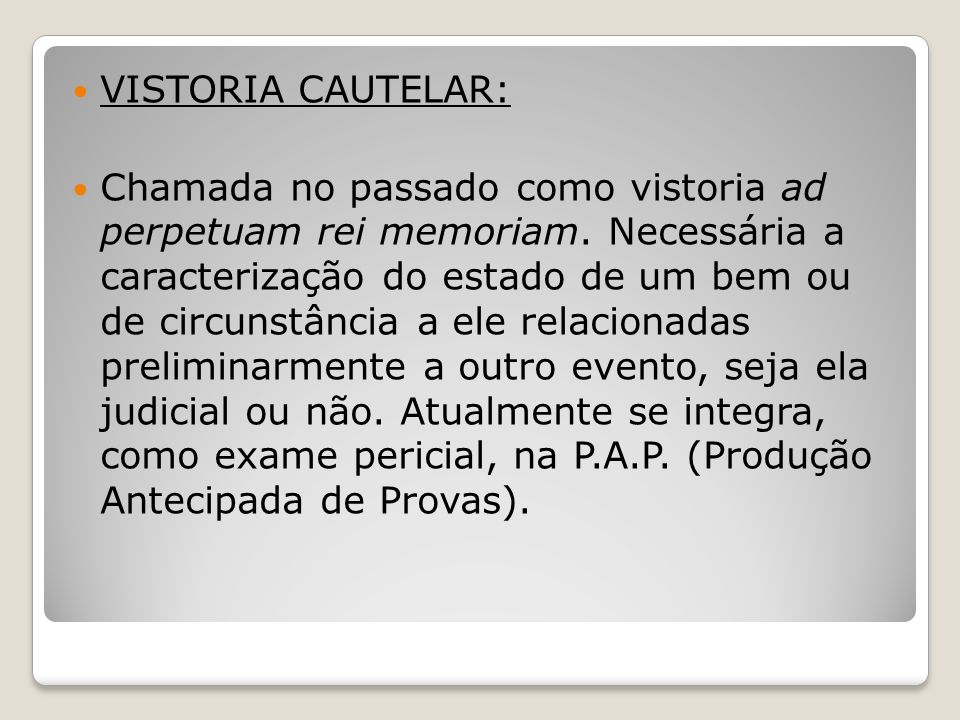 VISTORIA CAUTELAR: