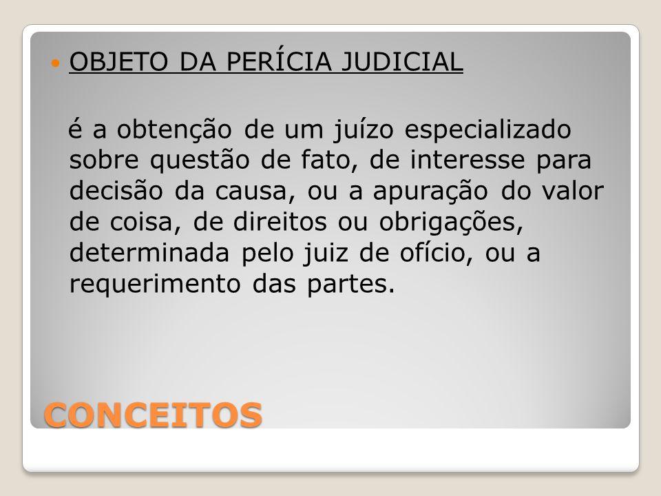 CONCEITOS OBJETO DA PERÍCIA JUDICIAL