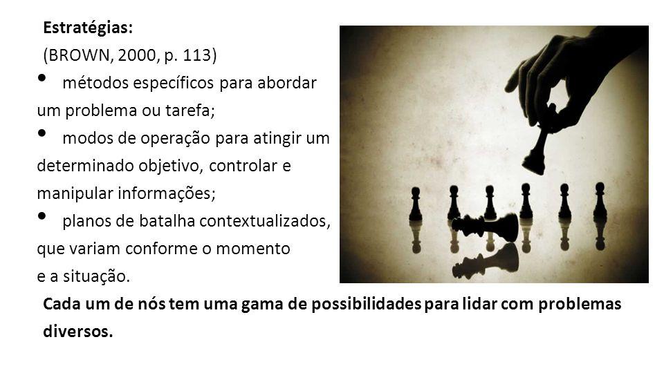 Estratégias: (BROWN, 2000, p. 113) métodos específicos para abordar. um problema ou tarefa; modos de operação para atingir um.