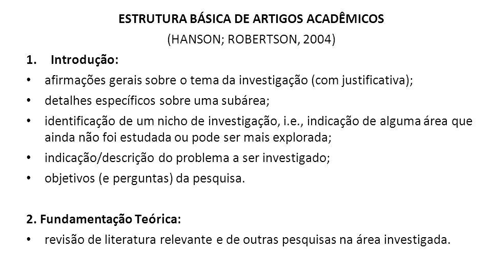 ESTRUTURA BÁSICA DE ARTIGOS ACADÊMICOS