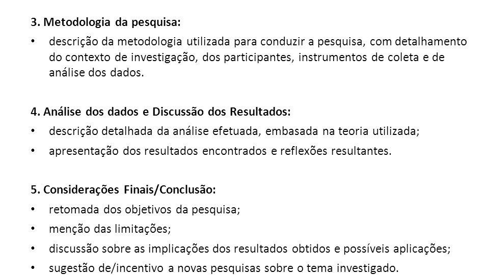 3. Metodologia da pesquisa: