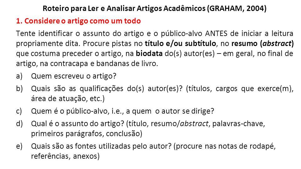 Roteiro para Ler e Analisar Artigos Acadêmicos (GRAHAM, 2004)