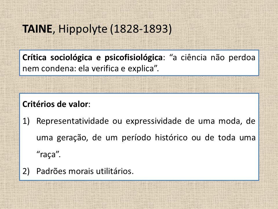 TAINE, Hippolyte (1828-1893) Crítica sociológica e psicofisiológica: a ciência não perdoa nem condena: ela verifica e explica .