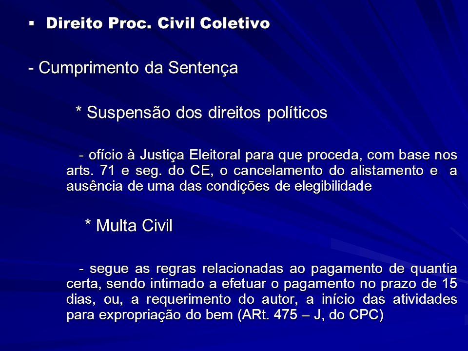 - Cumprimento da Sentença * Suspensão dos direitos políticos