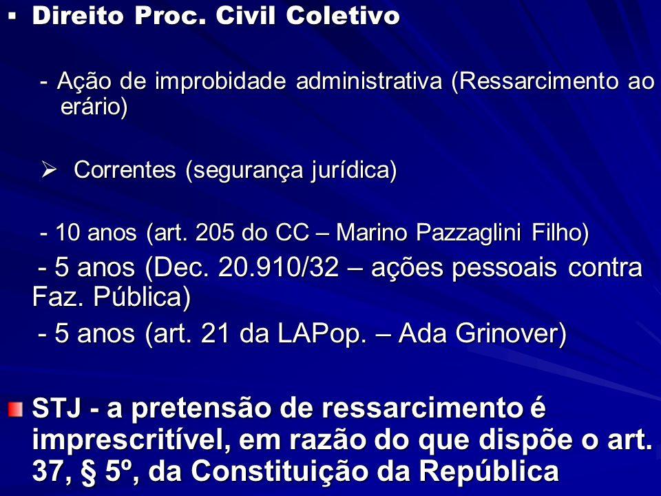 - 5 anos (Dec. 20.910/32 – ações pessoais contra Faz. Pública)