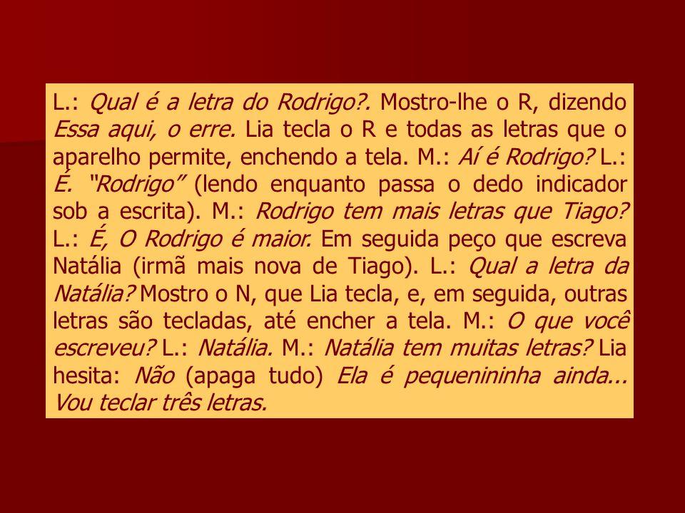 L. : Qual é a letra do Rodrigo