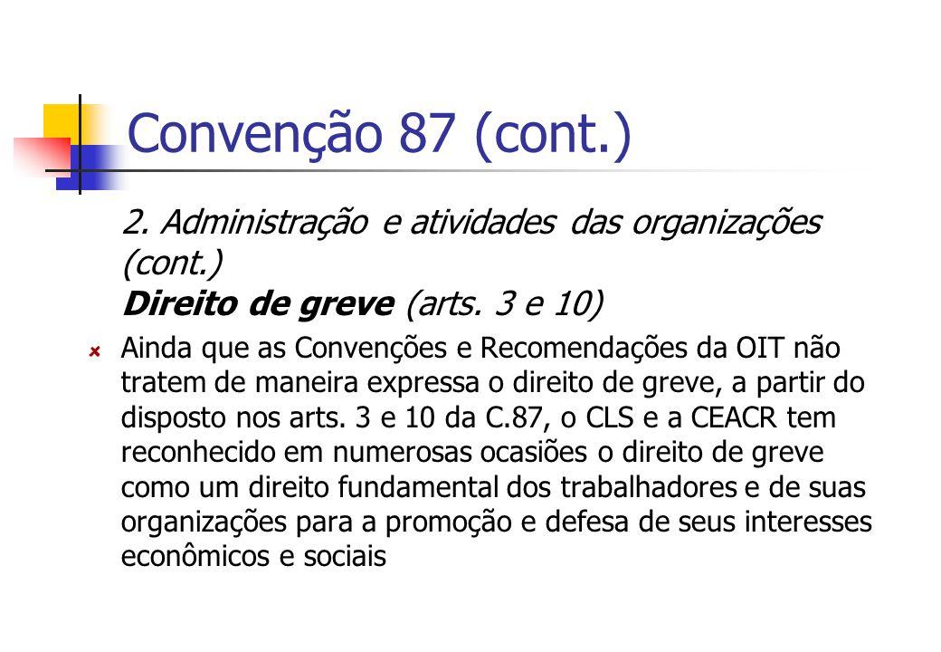 Convenção 87 (cont.) 2. Administração e atividades das organizações (cont.) Direito de greve (arts. 3 e 10)