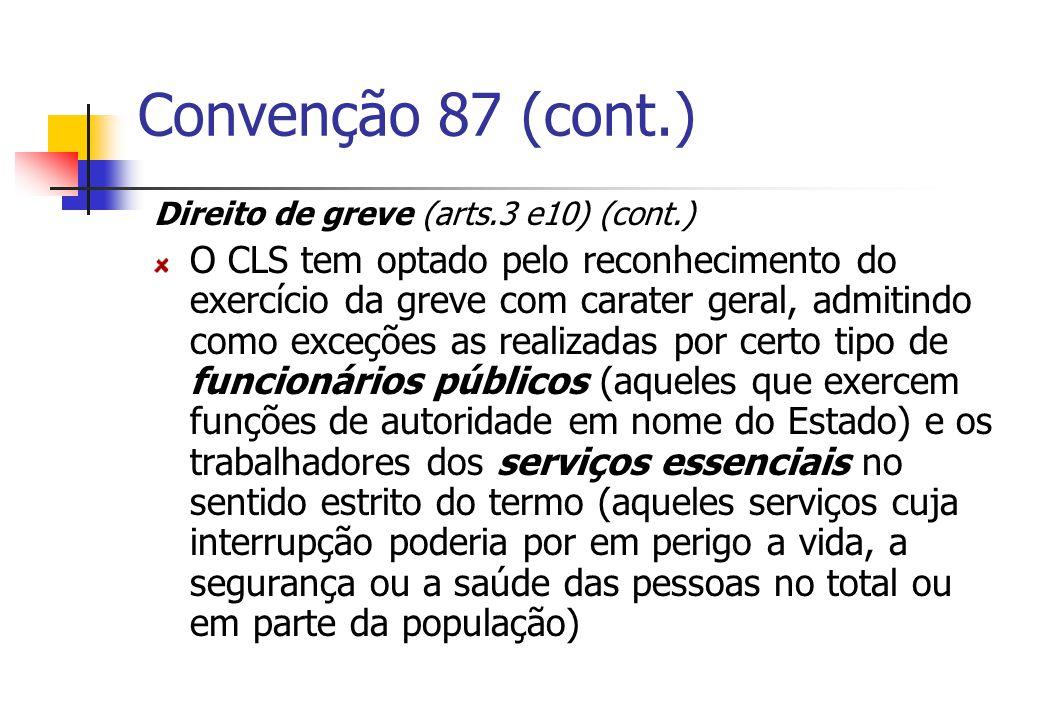 Convenção 87 (cont.) Direito de greve (arts.3 e10) (cont.)