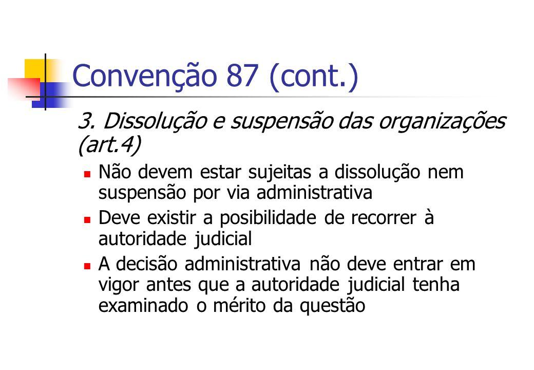 Convenção 87 (cont.) 3. Dissolução e suspensão das organizações (art.4) Não devem estar sujeitas a dissolução nem suspensão por via administrativa.