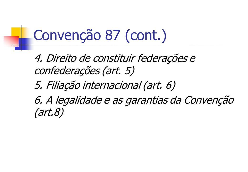 Convenção 87 (cont.) 4. Direito de constituir federações e confederações (art. 5) 5. Filiação internacional (art. 6)