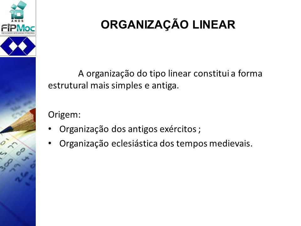 ORGANIZAÇÃO LINEAR A organização do tipo linear constitui a forma estrutural mais simples e antiga.