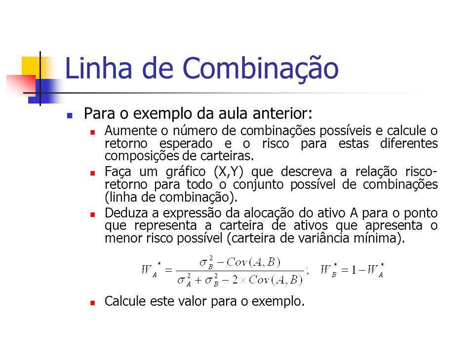 Linha de Combinação Para o exemplo da aula anterior: