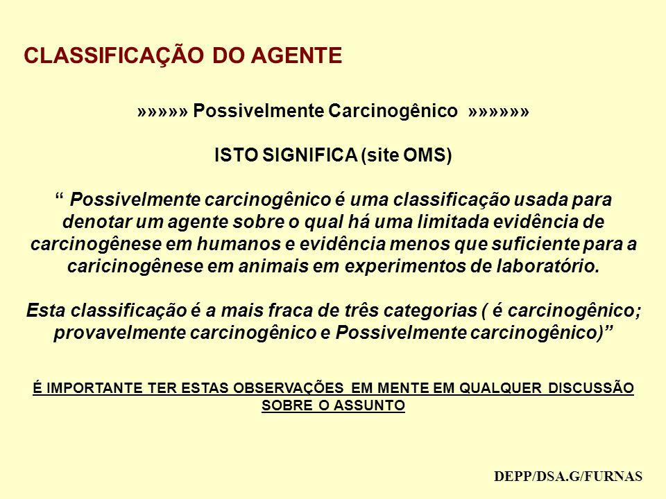 »»»»» Possivelmente Carcinogênico »»»»»» ISTO SIGNIFICA (site OMS)