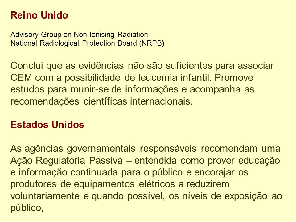 Reino Unido Advisory Group on Non-Ionising Radiation. National Radiological Protection Board (NRPB)