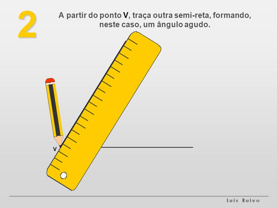 2 A partir do ponto V, traça outra semi-reta, formando, neste caso, um ângulo agudo. . V
