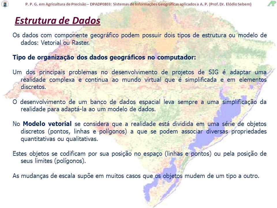 Estrutura de Dados Os dados com componente geográfico podem possuir dois tipos de estrutura ou modelo de dados: Vetorial ou Raster.