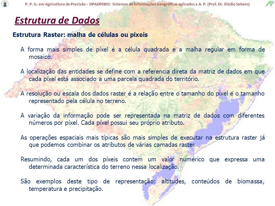 Estrutura de Dados Estrutura Raster: malha de células ou píxeis