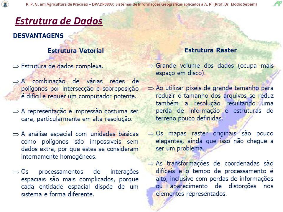 Estrutura de Dados DESVANTAGENS Estrutura Vetorial Estrutura Raster