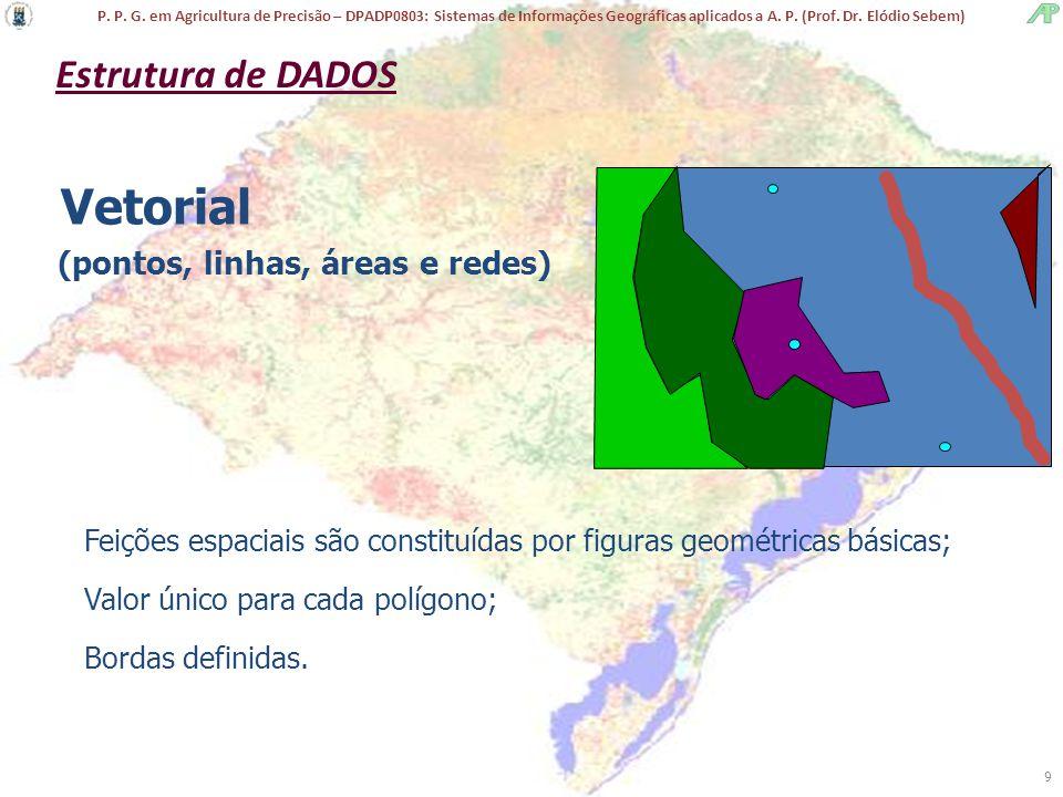 Vetorial Estrutura de DADOS (pontos, linhas, áreas e redes)