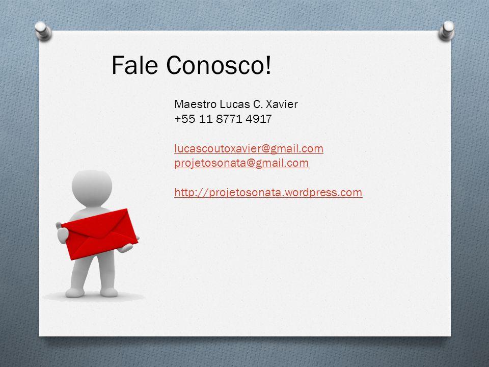 Fale Conosco! Maestro Lucas C. Xavier +55 11 8771 4917