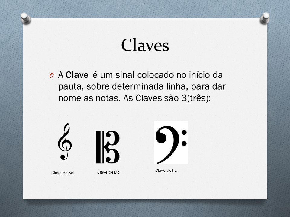 Claves A Clave é um sinal colocado no início da pauta, sobre determinada linha, para dar nome as notas. As Claves são 3(três):