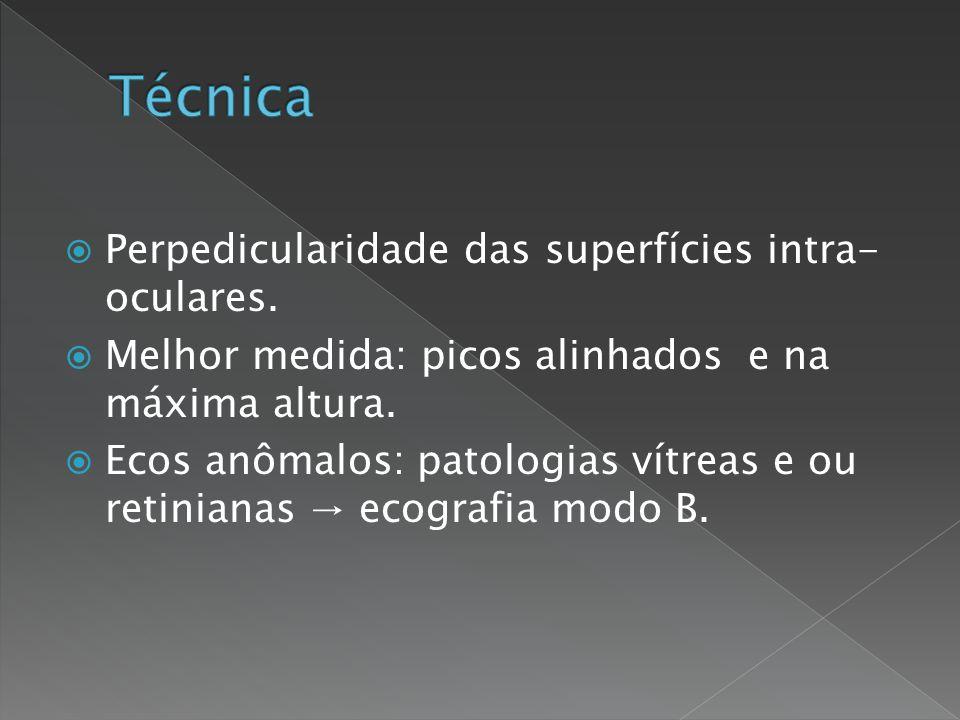 Técnica Perpedicularidade das superfícies intra-oculares.