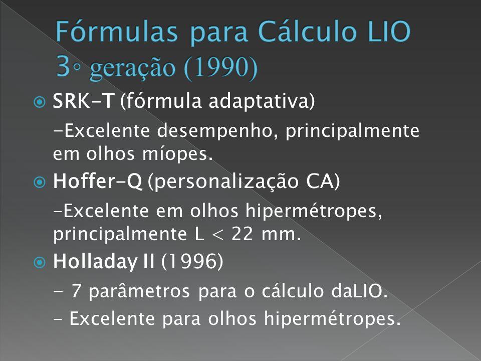 Fórmulas para Cálculo LIO 3◦ geração (1990)