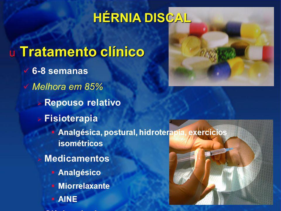 Tratamento clínico HÉRNIA DISCAL 6-8 semanas Melhora em 85%