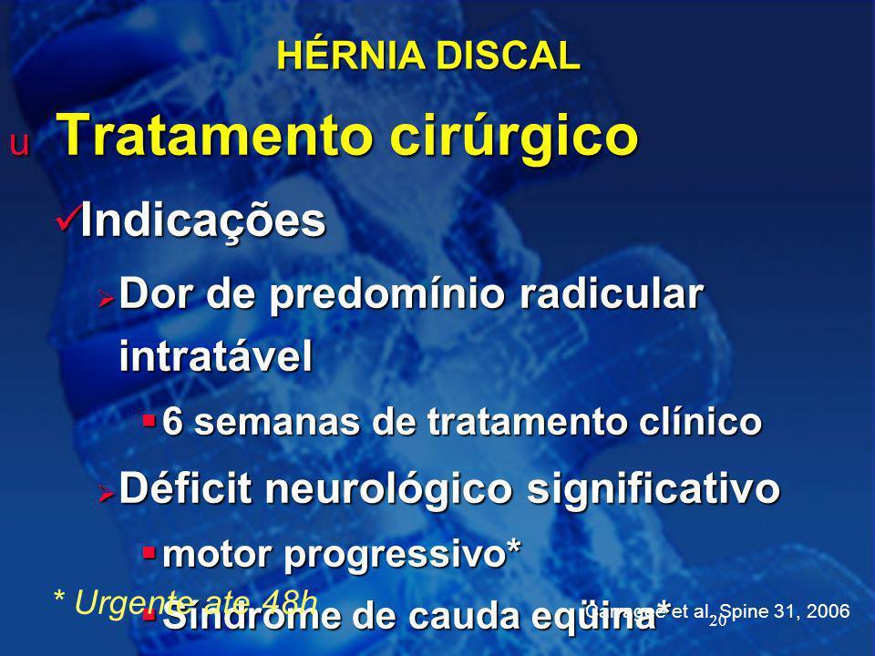 Tratamento cirúrgico Indicações Dor de predomínio radicular intratável