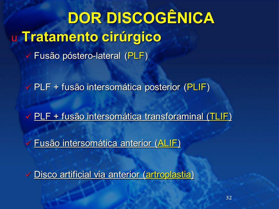 DOR DISCOGÊNICA Tratamento cirúrgico Fusão póstero-lateral (PLF)