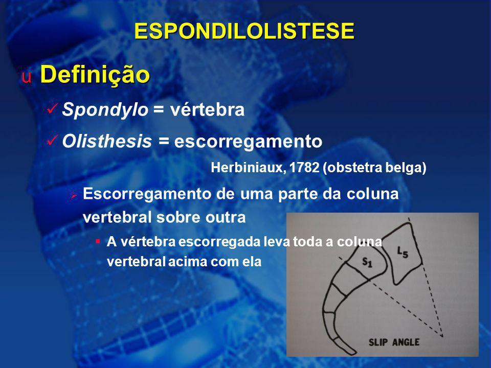 Definição ESPONDILOLISTESE Spondylo = vértebra