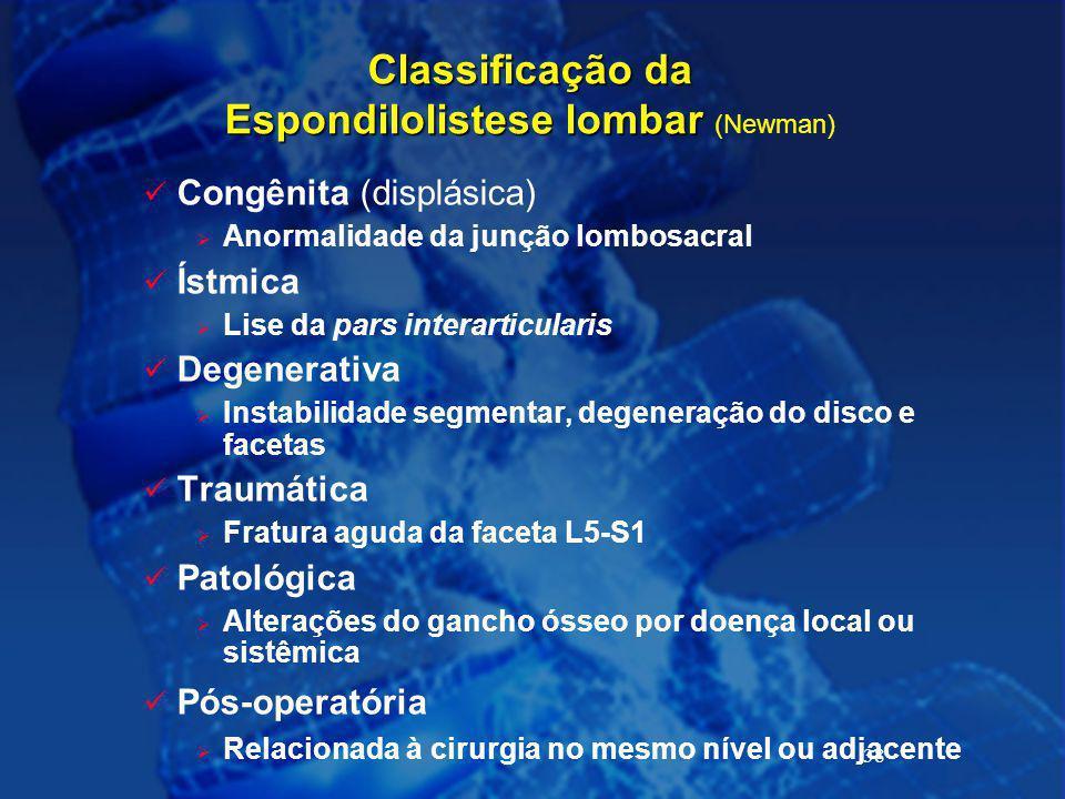Classificação da Espondilolistese lombar (Newman)