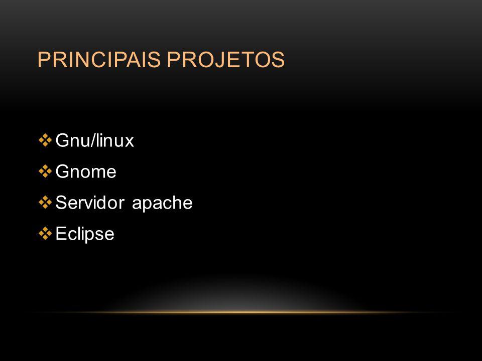 Principais projetos Gnu/linux Gnome Servidor apache Eclipse
