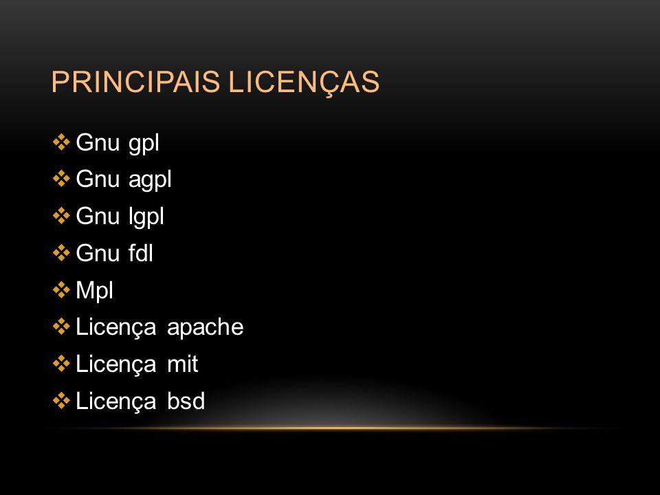 Principais licenças Gnu gpl Gnu agpl Gnu lgpl Gnu fdl Mpl