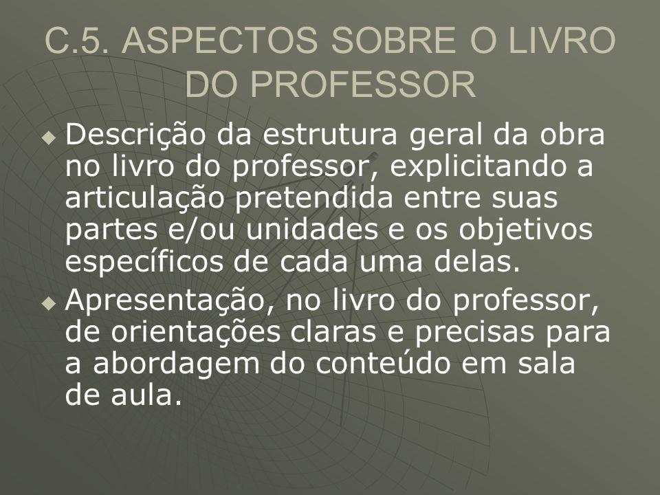 C.5. ASPECTOS SOBRE O LIVRO DO PROFESSOR