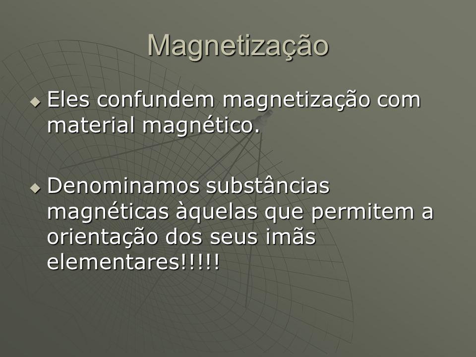Magnetização Eles confundem magnetização com material magnético.
