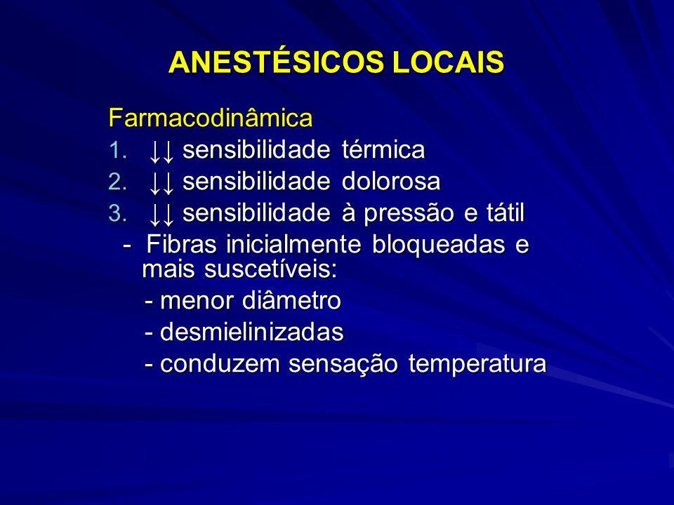 ANESTÉSICOS LOCAIS Farmacodinâmica ↓↓ sensibilidade térmica