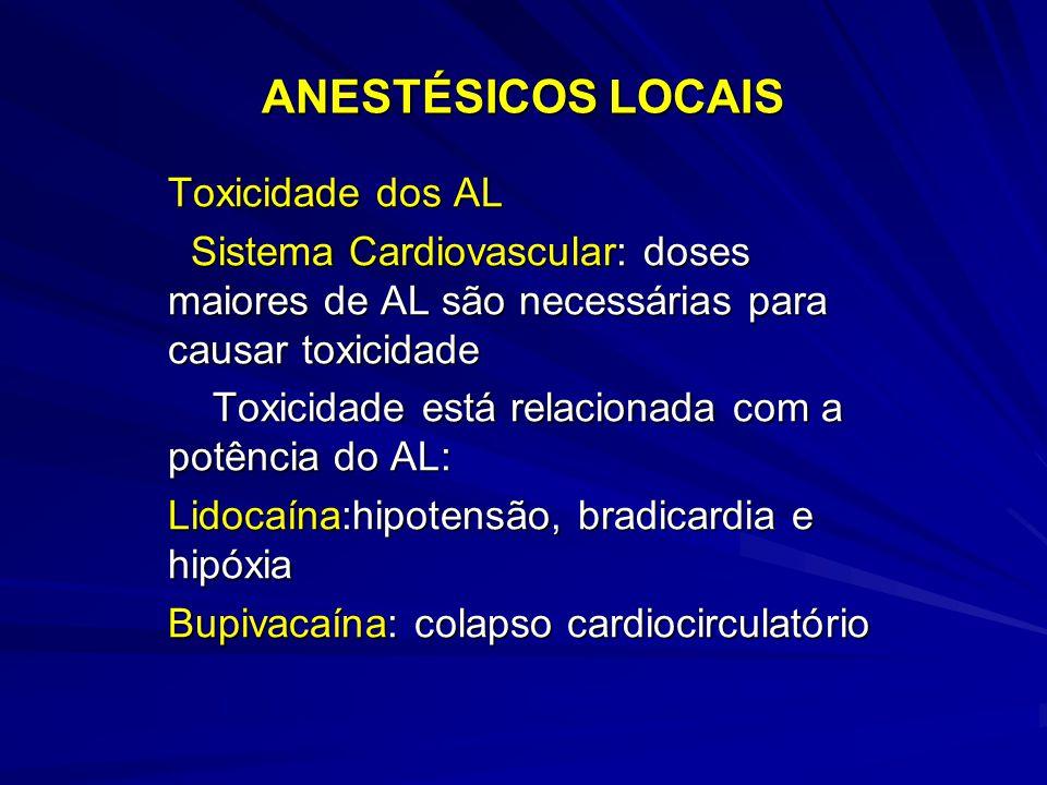 ANESTÉSICOS LOCAIS Toxicidade dos AL