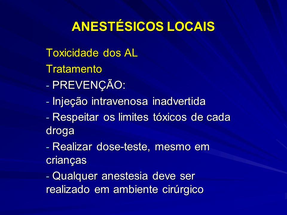 ANESTÉSICOS LOCAIS Toxicidade dos AL Tratamento PREVENÇÃO: