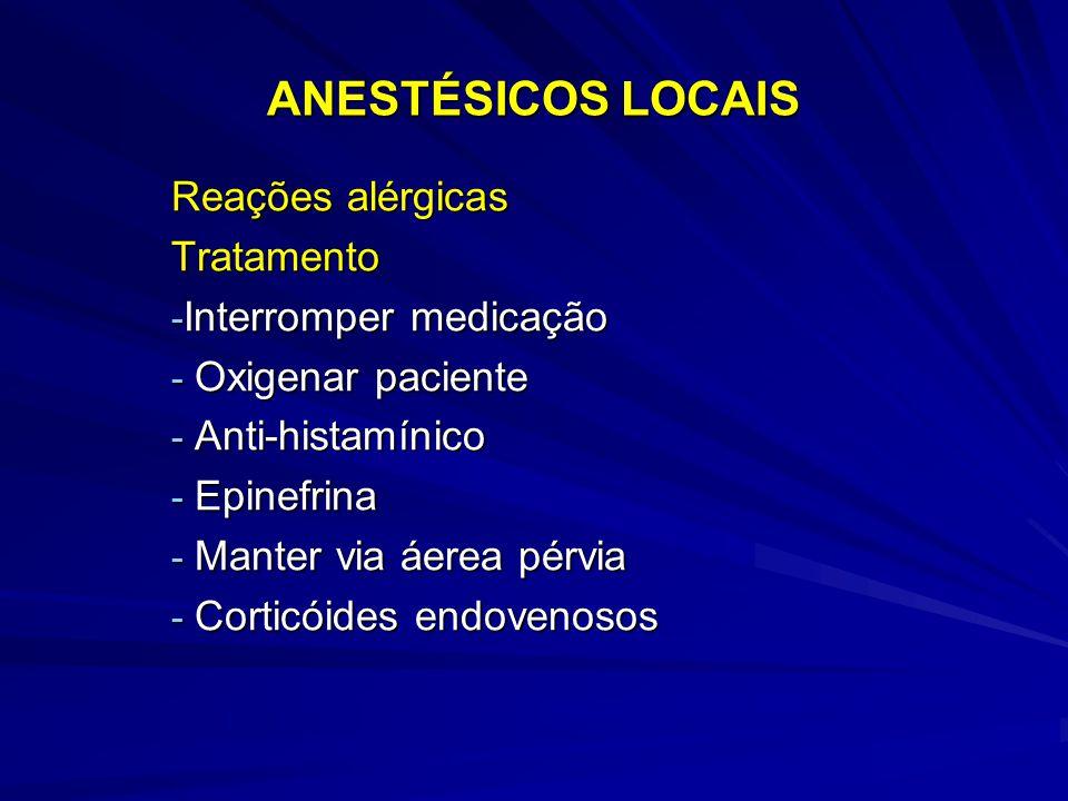 ANESTÉSICOS LOCAIS Reações alérgicas Tratamento Interromper medicação