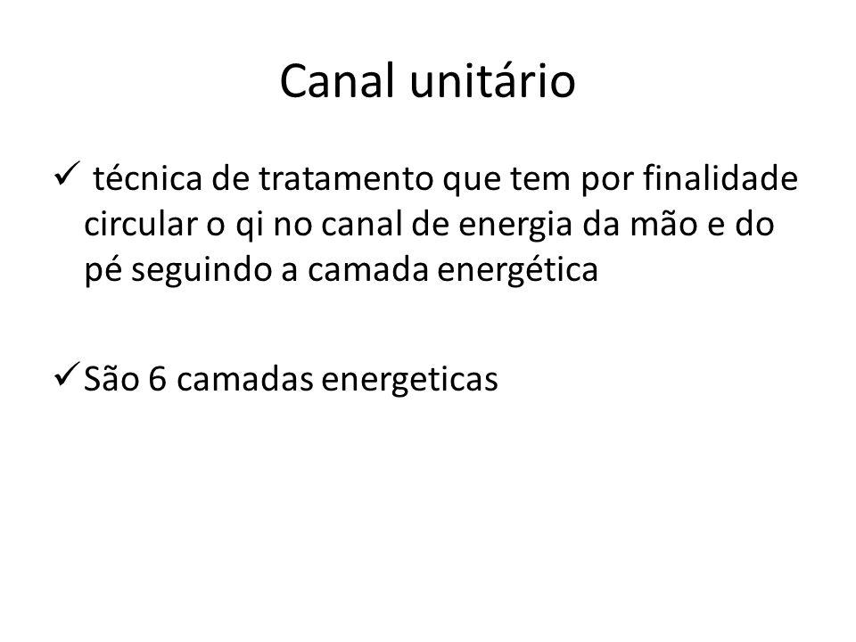 Canal unitário técnica de tratamento que tem por finalidade circular o qi no canal de energia da mão e do pé seguindo a camada energética.