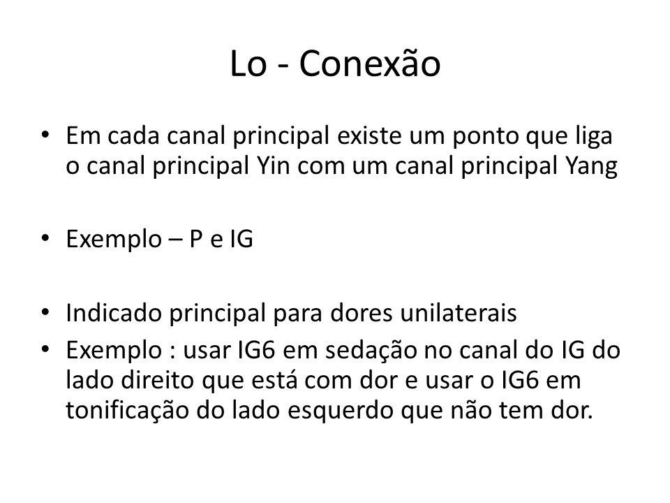 Lo - Conexão Em cada canal principal existe um ponto que liga o canal principal Yin com um canal principal Yang.