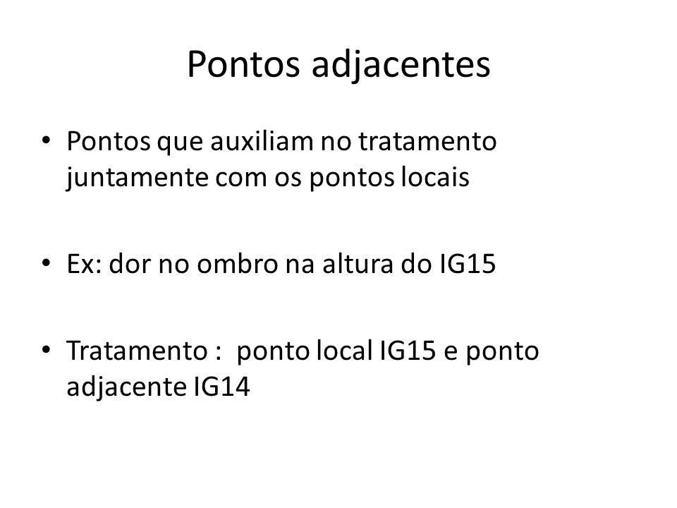 Pontos adjacentes Pontos que auxiliam no tratamento juntamente com os pontos locais. Ex: dor no ombro na altura do IG15.