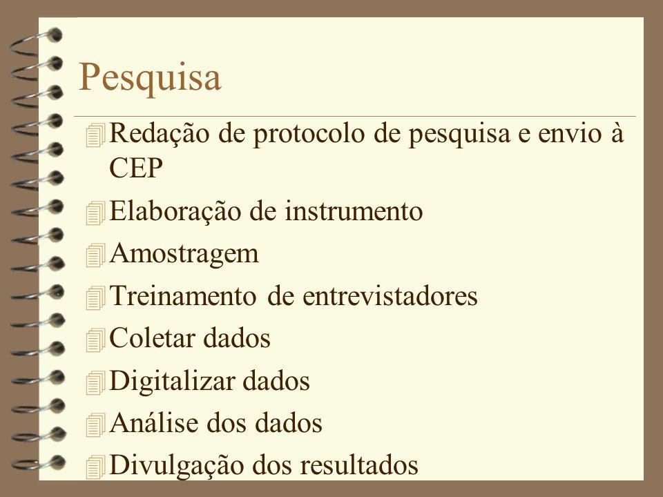 Pesquisa Redação de protocolo de pesquisa e envio à CEP