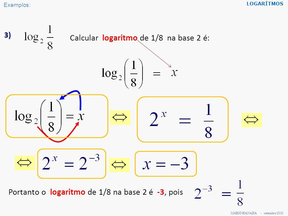 Calcular logaritmo de 1/8 na base 2 é: