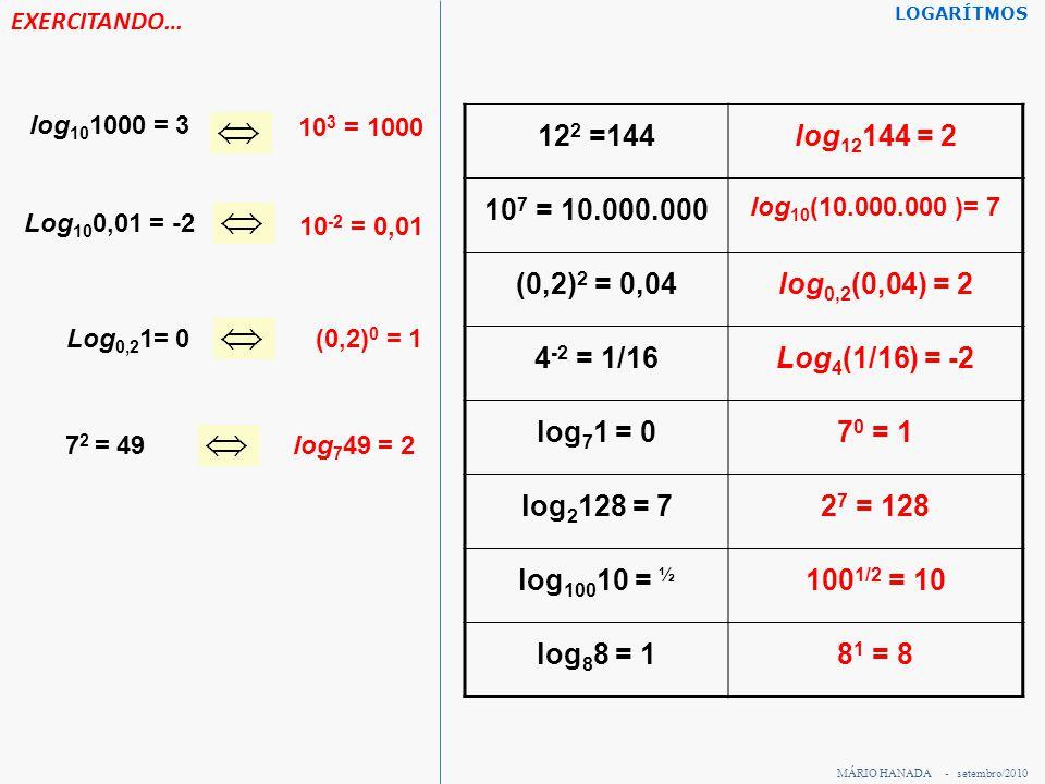 EXERCITANDO… LOGARÍTMOS. log101000 = 3. 103 = 1000. 122 =144. log12144 = 2. 107 = 10.000.000. log10(10.000.000 )= 7.