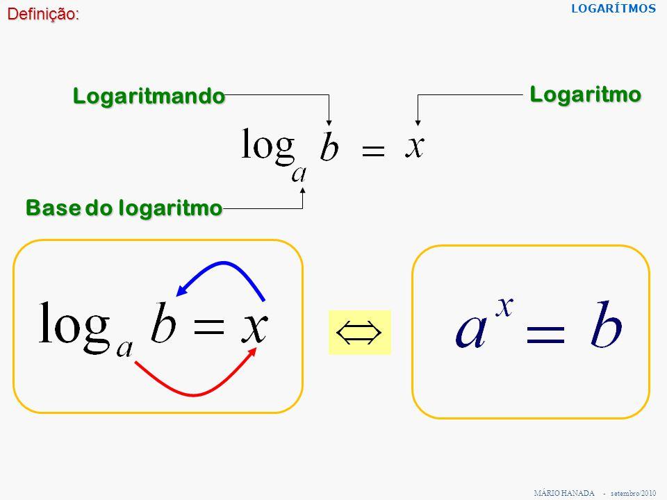 Logaritmando Logaritmo Base do logaritmo Definição: LOGARÍTMOS