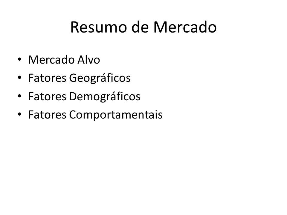 Resumo de Mercado Mercado Alvo Fatores Geográficos